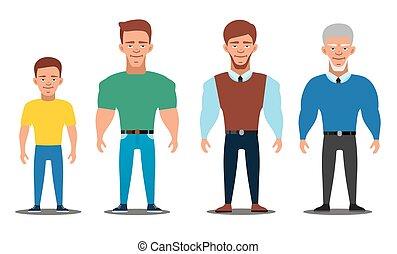 al, gruppe, folk, ælde, cartoon, viser, progress., bogstaverne, europæisk, generations., mand