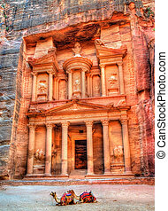 Al Khazneh temple in Petra. UNESCO world heritage site - Al...