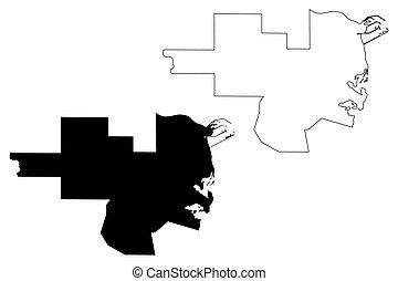 Al Khor (State of Qatar, Municipalities of Qatar) map vector...