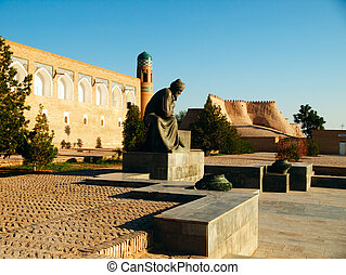 Al-Khorezmiy monument in Khiva. - Monument to Al-Khorezmiy...