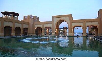 Al Kout Mall, Kuwait - Fountain in the Al Kout Mall at dusk....