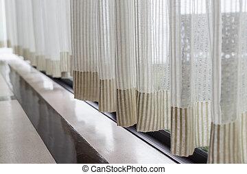 al lado de, cortina, blanco, ventana
