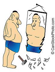 al lado de, roto, mirrors., hombre