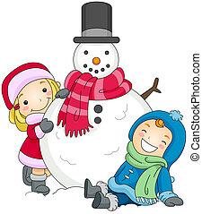 al lado de, snowman, niños, posar