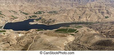Al Mujib dam, Wadi Mujib, South Jordan - Wadi Mujib with...