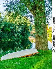 al revés, barco, en el parque, al lado de, un, árbol, con, hermoso, charca, agua, paisaje