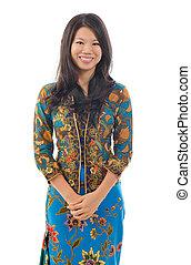 al sureste asiático, mujer, en, tradicional, batik, kebaya