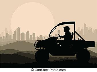 al terræn, vektor, baggrund, køretøj, rider