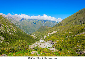 Ala Archa national park, Kyrgyzstan - Valley with river and...