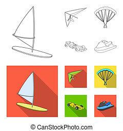 ala delta, paracaídas, coche de carreras, agua, scooter.extreme, deporte, conjunto, colección, iconos, en, contorno, estilo, símbolo, ilustración común, web.