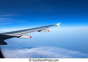 ala, di, uno, aereo, con, cielo blu, e, nubi