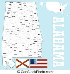 alabama 郡地図