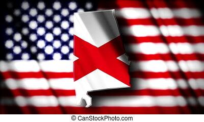 Alabama 03 - Flag of Alabama in the shape of Alabama state...