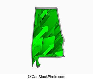 Alabama AL Arrows Map Growth Increase On Rise 3d Illustration