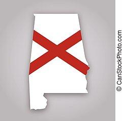 alabama al state flag in map shape vector