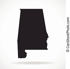alabama al state map shape simplified vector