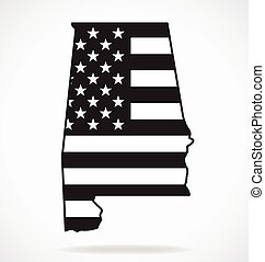 alabama al state map with usa flag black white vector