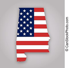 alabama al state map with usa flag vector