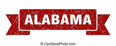 Alabama ribbon. Red Alabama grunge band sign