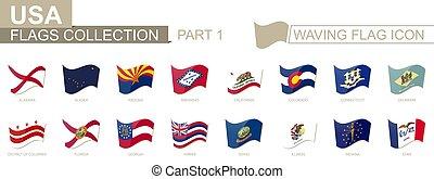 alabama, bandeiras, estados, nós, iowa., bandeira acenando, classificado, alphabetically, ícone