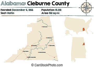 Alabama: Cleburne county map