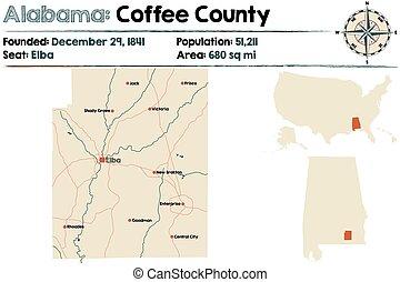 Alabama: Coffee county map