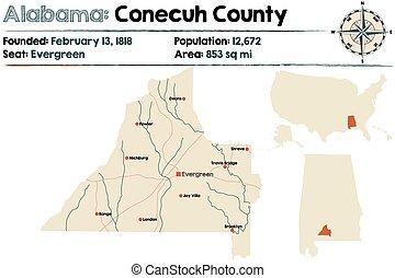 Alabama: Conecuh county map