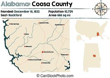Alabama: Coosa county map