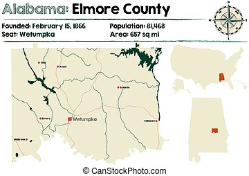 Alabama: Elmore county map