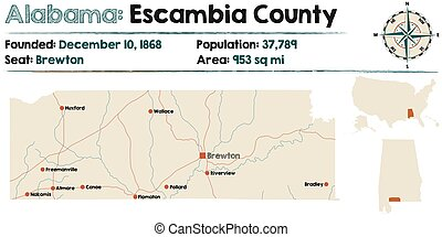 Alabama: Escambia county map