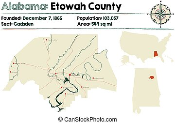 Alabama: Etowah county map