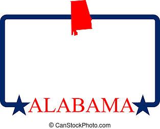 Alabama state map, frame, and name.