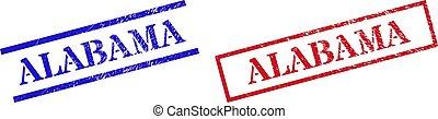 ALABAMA Grunge Scratched Stamp Seals with Rectangle Frame