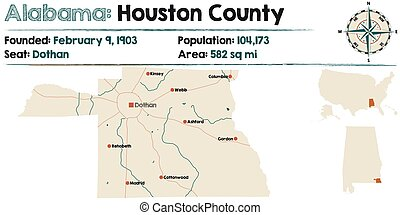 Alabama: Houston county map