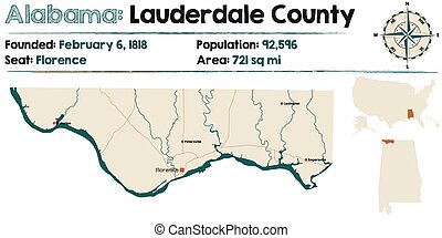 Alabama: Lauderdale county map