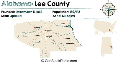 Alabama: Lee county map - Large and detailed map of Lee...
