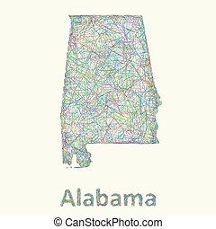 Alabama line art map