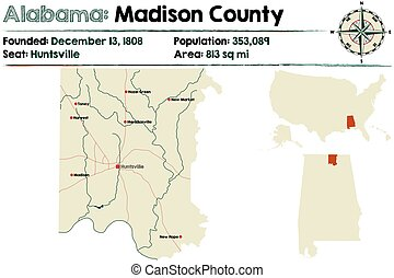 Alabama: Madison county - Large and detailed map of Madison ...
