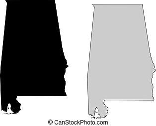 Alabama map. Black and white. Mercator projection.