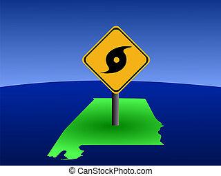 Alabama map with hurricane sign - hurricane warning sign on...