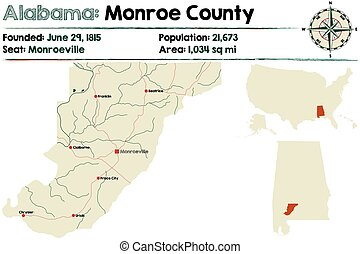 Alabama: Monroe county - Large and detailed map of Monroe ...