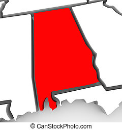 Alabama Red Abstract 3D State Map United States America
