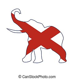 The Alabama Republican elephant flag over a white background