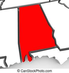 alabama, rojo, resumen, 3d, mapa del estado, estados unidos, américa