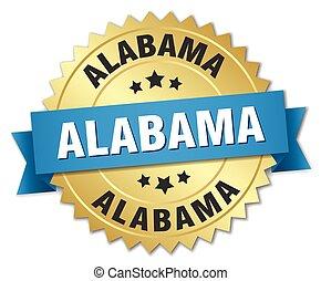 alabama, ronde, gouden, badge, met, blauw lint
