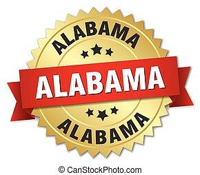 alabama, ronde, gouden, badge, met, rood lint