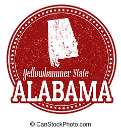 Vintage stamp with text Yellowhammer State written inside and map of Alabama, vector illustration
