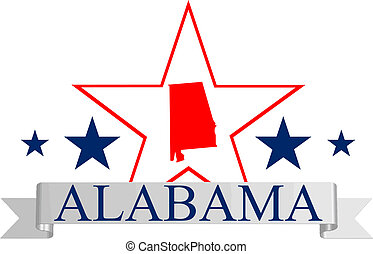 Alabama state map, star, and name.