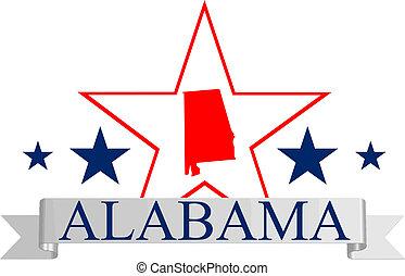 Alabama state map, star, and name.