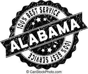 Alabama State Best Service Stamp with Dust Texture